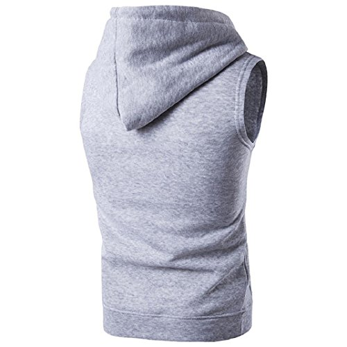Cut Hoody - ShenPr Men's Casual Solid Polo Hoodies Sleeveless Cap Sweater Pullovers Vest T-shirts Tee Tops (Light gray, L)