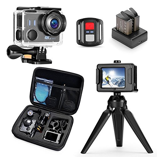 Darkeep 4K Action Camera WiFi Touch Screen Anti Shake 14MP 4K/30fps Sports Camera Waterproof Sony Sensor 170 ° Fisheye Lens with Remote Control Backup Battery and Portable Package Darkeep