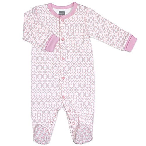 Kushies Girls' Blue Banana Floral Bow Footie Footed Sleeper Baby Pajamas, Light Pink, 06 Months