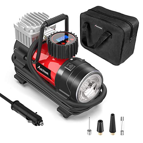 Tire Inflator Pump, Portable Air Compressor 12V 125 PSI with Digital Display Gauge, LED Flashlight, Overheat Protection, Extra Nozzle Adaptors, Avid Power