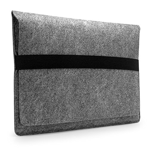 Lavievert Handmade Gray Felt Case Bag Sleeve Protector with Black Eslastic Band for Apple 11 MacBook Air