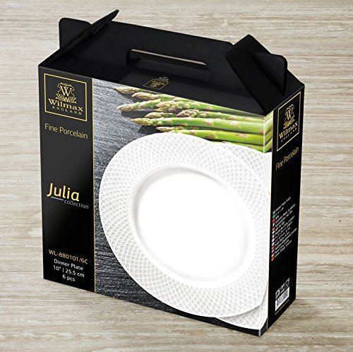 """Wilmax WL-880101, 10"""" Julia Collection White Porcelain Round Dinner Plate, Classic European Bone China Serving Plates, Gift Box Set of 6"""