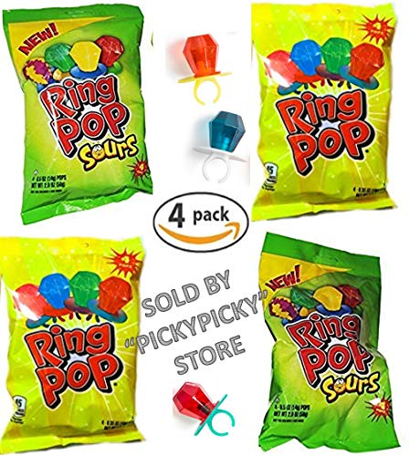 New Ring Pop Sours - 4 Bags of 4 Pops Each - 16 Total Ring -
