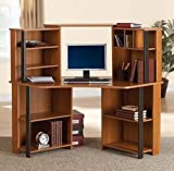 Mainstay Corner Computer Desk Workstation with Hutch, Brown