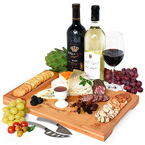 Unique Bamboo Cheese Board, Charcuterie Platter and Serving Tray for Wine, Crackers, Brie and Meat. Large and Thick Natural Wooden Server - Fancy House Warming Gift & Perfect Choice for Gourmets (Wine Server Tray)