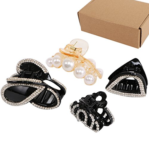 kilofly 4pc Women's Rhinestone Crystal Faux Hair Clip Claw Barrettes + Gift Box