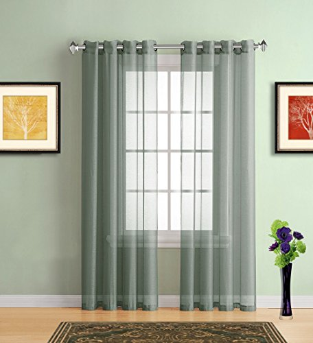 Warm Home Designs Sage Green Sheer Window Curtains with Grommet Top for Bedroom, Kitchen, Kids Room or Living Room, 2 Voile Panel Drapes 54-Inch-by-84-Inch - K Sage 84
