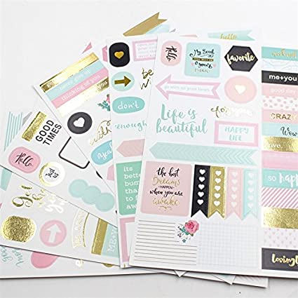 6 unds hojas de pegatinas diseños para agendas libro de ...