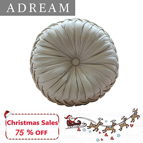 Luxury Round Pillow - Christmas Europe Type Faux Silk Soft Decorative Cushion, Sofa Pumpkin Pillow ADREAM Round Throw Pillow, Luxury Brand Car Cushions, (Cream)