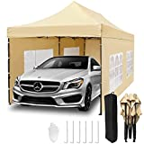 10'x 10'Pop up Canopy Tent with Walls,Topcamp Heavy Duty Outdoor Commercial Waterproof Tent with 4 Removable Walls Instant Sun Shelter Gazebo-Beige