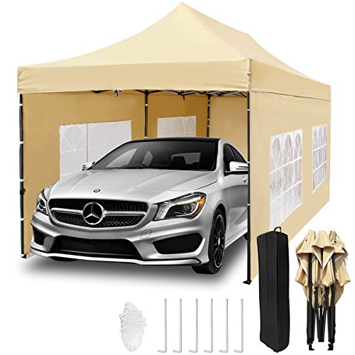 TopCamp 10x20 ft Pop up Canopy Tent Carport, Heavy Duty Waterproof Outdoor Party Beige Tent with Removable Walls and Wheeled (Car Canopy Tents)