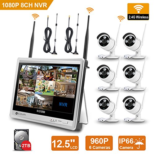 Wireless Surveillance Camera System - Forcovr 8 Channel 1080P Home Security System CCTV Wifi NVR Kit with 12.5inch LCD Monitor and 6PCS 960P HD Outdoor Waterproof IR Night Vision IP Cameras (2TB HDD) by Forcovr