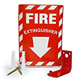 TikTech Universal Fire Extinguisher ABC Wall Bracket: Red Hanger Mount Holds Up to 20 Pound Emergency Canister with 2 Screws, Anchors, and Locate Sticker [2018 UPGRADED]