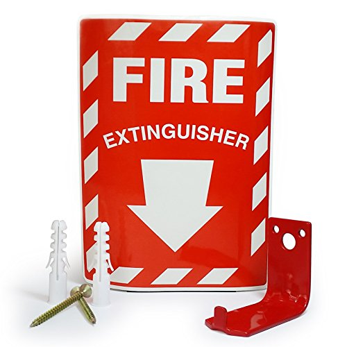 TikTech Universal Fire Extinguisher Wall Bracket: Red Hanger Mount Holds Up to 20 Pound Emergency Canister with 2 Screws, Anchors, and Locate Sticker