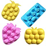 Sakolla Fruits Silicone Mold, Gummy Candy Mold, Strawberries/Pineapples/Apples/Grapes Chocolate Mold Ice Cube Tray - Set of 4