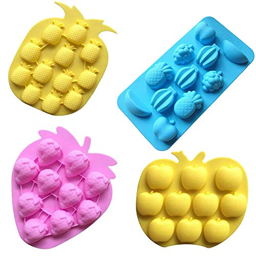 (Sakolla Fruits Silicone Mold, Gummy Candy Mold, Strawberries/Pineapples/Apples/Grapes Chocolate Mold Ice Cube Tray - Set of 4)