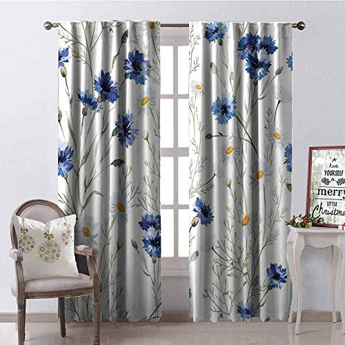 GloriaJohnson Watercolor Flower Shading Insulated Curtain Wildflowers and Cornflowers Daisies Blooms Flower Buds Soundproof Shade W52 x L54 Inch Blue Sage Green Marigold