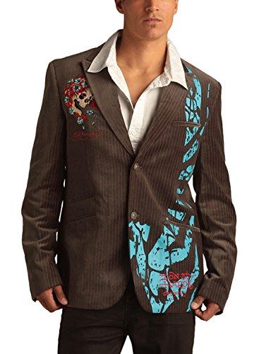 Grey Pinstripe Blazer (Ed Hardy Mens Skull Velvet Pinstripe Blazer Jacket - Grey -)