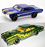 Hot Wheels - '67 Pontiac GTO & '69 Dodge Coronet Superbee Die Cast 1:64 HW Flames in CASES