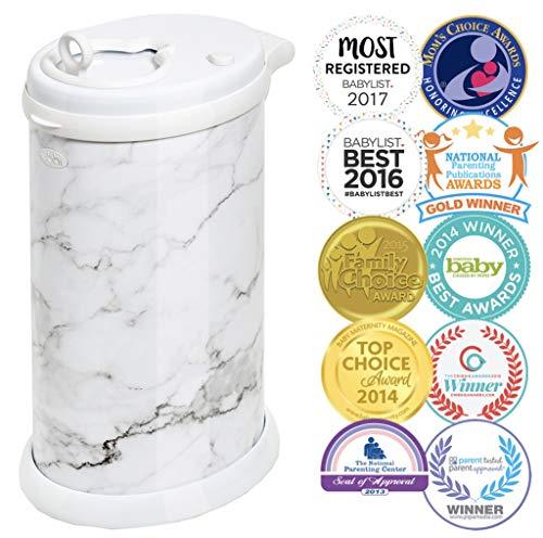 Ubbi Steel Odor Locking, No Special Bag Required Money Saving, Awards-Winning, Modern Design Registry Must-Have Diaper Pail, Marble