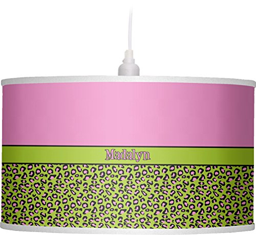 RNK Shops Pink & Lime Green Leopard Drum Pendant Lamp Linen (Personalized) by RNK Shops
