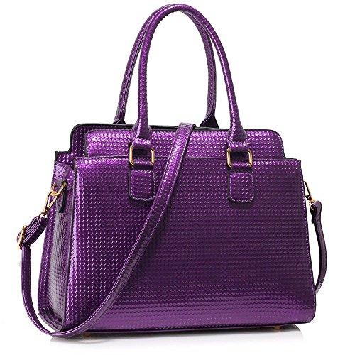 LEESUN LONDON - Bolsa Mujer, color rojo, talla L Y - Purple