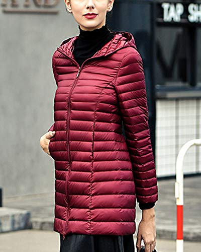 Wine GladiolusA Coat Long Women's Hooded Red Outwear Jacket Packable Ultralight n8rqT8xpw6