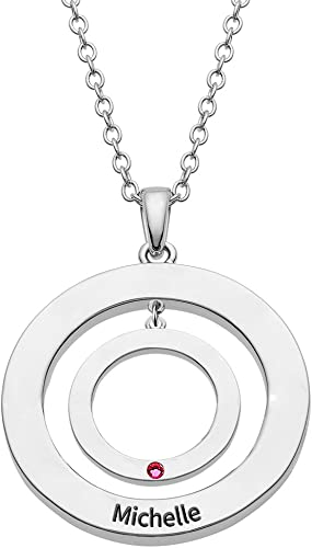 Ouslier 925 Sterling Silver Personalized Birthstone Circle Pendants Necklace Custom Made with Any Names