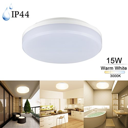 COOLWEST LED Flush Mount Ceiling Light for Kitchen Bathroom Diningroom IP44 7.87' 15W 6000K Cool White Square