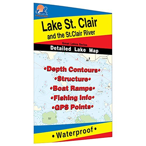 St. Clair/St. Clair River Fishing Map, Lake (MI/ONT) by Fishing Hot Spots