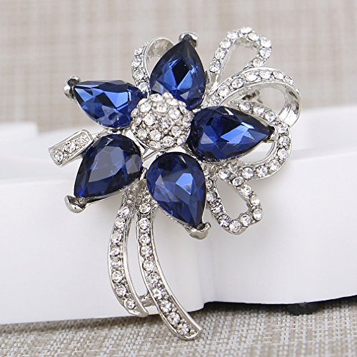 Jewelei Fashion Crystal 925 Sterling Silver Brooches Pins Scarf Clips for Wedding/Dailywear/Banquet by Jewelei (Image #2)