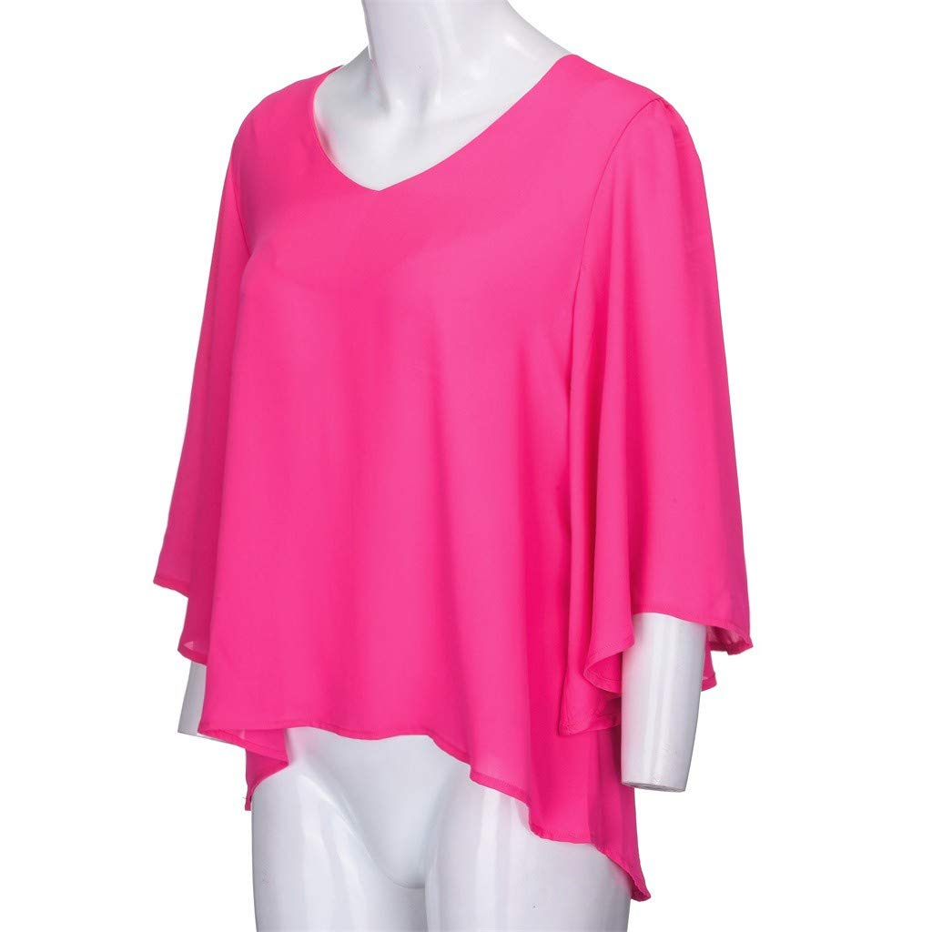 Pervobs Women Ladies Loose Swing Tunic Casual Half Sleeve V-Neck Soild T-Shirt Tee Blouse Tops(US: 6, Hot Pink) by Pervobs T-Shirt (Image #7)