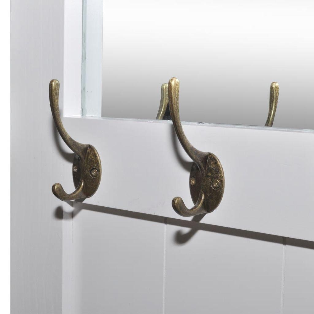 yorten Coat Rack Coat Stand with Mirror 110 x 52 x 2.5 cm