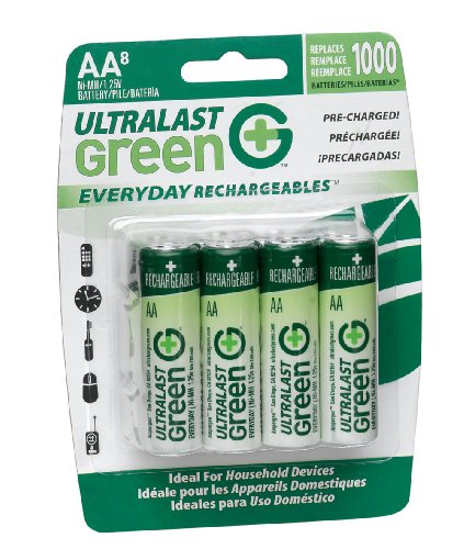 UltraLast Green Everyday Precharged NiMH AA Batteries 8-Pack (Metal Ultralast Nickel)