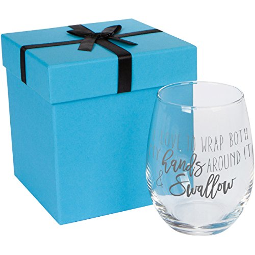 I Love to Wrap Both My Hands Around It and Swallow | Funny Wine Glass Gag Gift | Bachelorette Party Gift | Valentine's Gift | 16 Ounce Stemless Wine Glass with Etched Design | Gift Wrapped