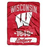 The Northwest Company Officially Licensed NCAA Wisconsin Badgers Varsity Micro-Raschel Throw Blanket, Red, 46'' x 60''