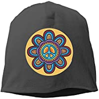 d786d484791 Hippie Peace Flower Classic Round Beanie Hats Knit Skull Caps Winter  Beanies For Men WomenBlack