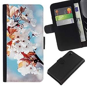 Protector de cuero de la PU de la cubierta del estilo de la carpeta del tirón BY RAYDREAMMM - Sony Xperia Z3 D6603 - Flores blancas