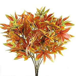 Nahuaa 2PCS Artificial Shrubs Fake Fall Bushes Large Silk Autumn Maple Leaves Bundles Indoor Outdoor Table Centerpieces Arrangements Home Kitchen Office Hanging Baskets Spring Decorations 83