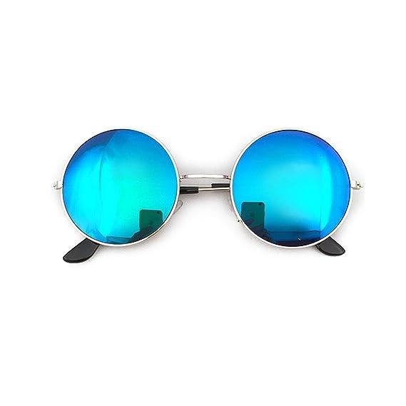 BESTOYARD Gafas de Sol Polarizadas de Círculo de Marca Metálico Vintage para Mujer Hombre (Marco