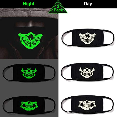 heartybay Cotton Mask 2 Pack Unisex Luminous Skull Style Mouth Mask for Kids Teens Men Women Lovers, Fog Respirator Anti Flu and Dust Protection Pollution Germs Allergens Windproof Half Face Masks