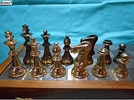 M I & Z Handicrafts Brass Metal Staunton Chess Pieces/Coins Set with Folding Wooden Chess Board (Non Magnetic) Special Slots Storage Inside Board-Best for Gifting, Home Decor & Playing.