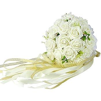 Amazon.com: Wedding Bridal Bouquet, Febou Wedding Bride Bouquet ...