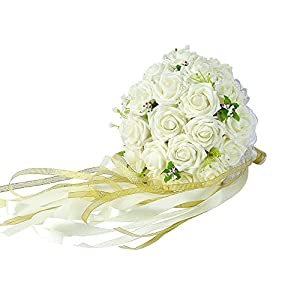Febou Wedding Bouquet Crystal Roses Bridesmaid Bouquet, Bridal Bouquet Artificial Flowers for Wedding, Party and Church 9