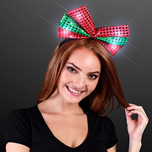 Price comparison product image Sequin Light Up Green & Red Christmas Bow Headband