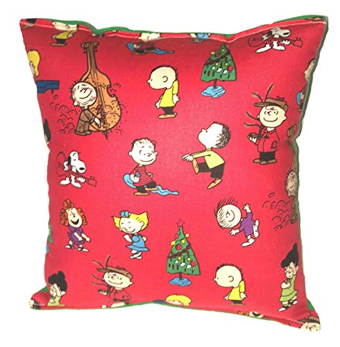 """Snoopy Pillow Peanuts Charlie Brown Gang Christmas Pillow Winter Fest Holiday Pillow HANDMADE in USA NEW Pillow is approximately 10"""" X 11"""