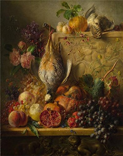 High Quality Polyster Canvas ,the Beautiful Art Decorative Canvas Prints Of Oil Painting 'Georgius Jacobus Johannes Van Os-Fruit, Flowers And Game,about 1820', 20x25 Inch / 51x65 Cm Is Best For Garage Artwork And Home Artwork And Gifts