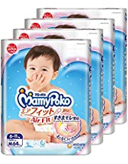 MamyPoko Air Fit Tape, M, 64 Count, (Pack of 4)