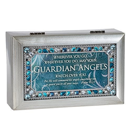 Cottage Garden Guardian Angels Watch Over You Brushed Silvertone Jewelry Music Box Plays Amazing Grace