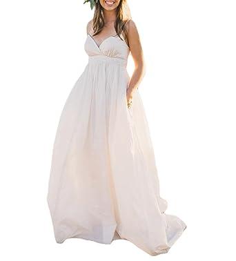 Fishlove Sexy Plus Size Spaghetti Straps Vestido De Novia Country Maternity Wedding Dresses W43